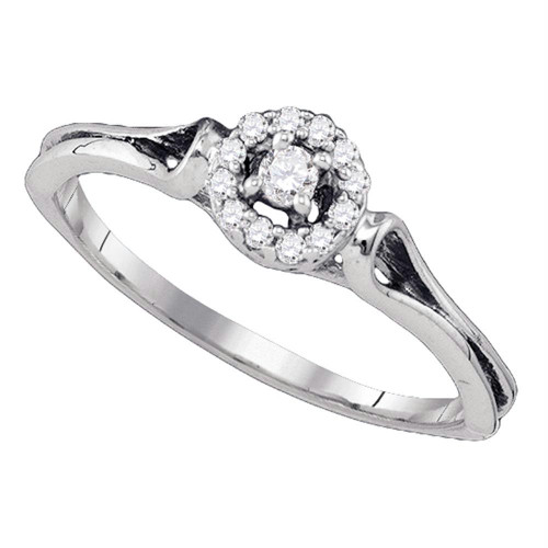 10kt White Gold Womens Round Diamond Solitaire Bridal Wedding Engagement Ring 1/10 Cttw - 77572-9.5