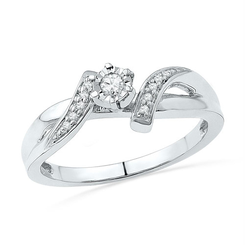10kt White Gold Womens Round Diamond Solitaire Promise Bridal Ring 1/10 Cttw - 100563-10.5