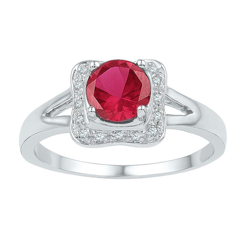 Sterling Silver Womens Diamond Round Lab-Created Ruby Solitaire Heart Ring 1//4