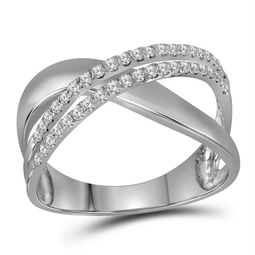 10kt White Gold Womens Round Diamond Crossover Band Ring 3/8 Cttw