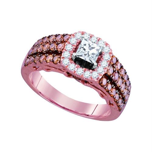 14kt Rose Gold Womens Princess Diamond Solitaire Bridal Wedding Engagement Ring 1-1/2 Cttw
