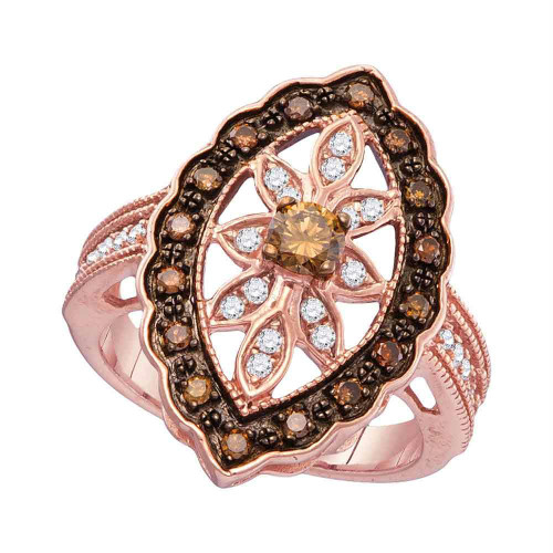 10kt Rose Gold Womens Round Brown Color Enhanced Diamond Oval Frame Ring 3/4 Cttw