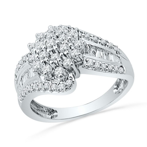 10kt White Gold Womens Round Diamond Cluster Ring 1.00 Cttw