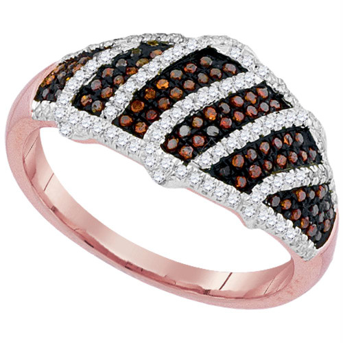 10kt Rose Gold Womens Round Red Color Enhanced Diamond Striped Band Ring 3/8 Cttw