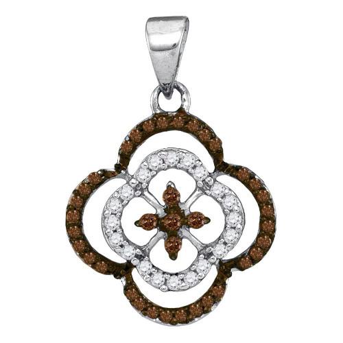 10kt White Gold Womens Round Cognac-brown Color Enhanced Diamond Quatrefoil Cluster Pendant 1/4 Cttw