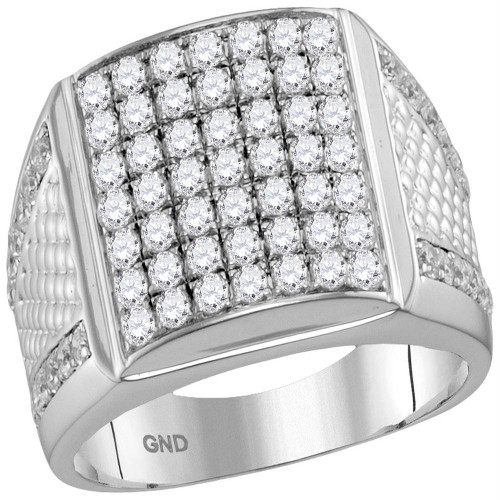 10kt White Gold Mens Round Pave-set Diamond Square Cluster Textured Ring 2-1/4 Cttw