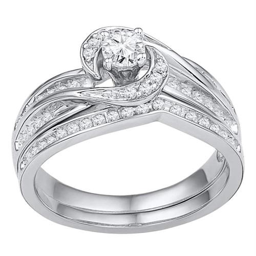 10k White Gold Womens Round Diamond Swirl Bridal Wedding Engagement Ring Band Set 1/2 Cttw