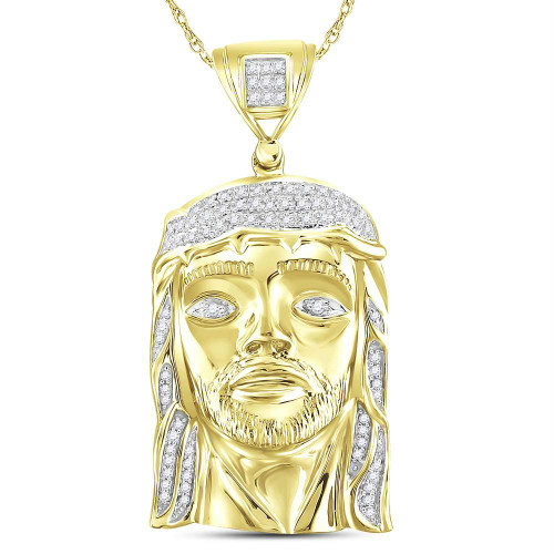 10kt Yellow Gold Mens Round Diamond Jesus Face Christ Messiah Charm Pendant 1/4 Cttw