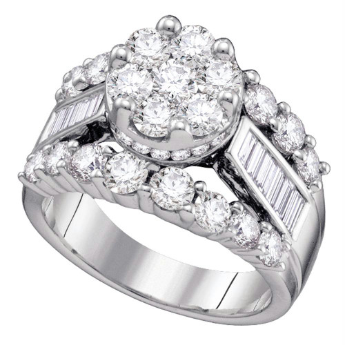 14kt White Gold Womens Round Diamond Cluster Bridal Wedding Engagement Ring 3.00 Cttw - 67235-9.5