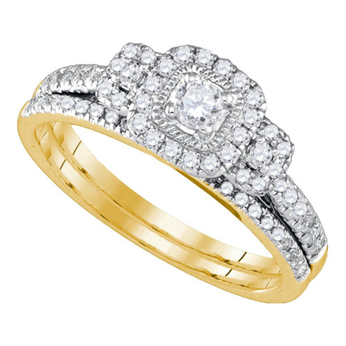 14kt Yellow Gold Womens Round Diamond Halo Bridal Wedding Engagement Ring Band Set 1/2 Cttw