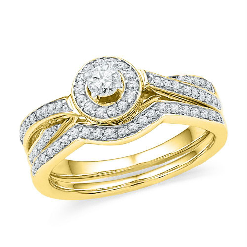 10k Yellow Gold Womens Round Diamond Bridal Wedding Engagement Ring Band Set 1/2 Cttw - 101423-10.5