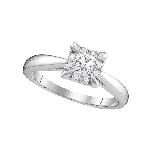 14kt White Gold Womens Princess Diamond Solitaire Bridal Wedding Engagement Ring 1/2 Cttw - 106347-5