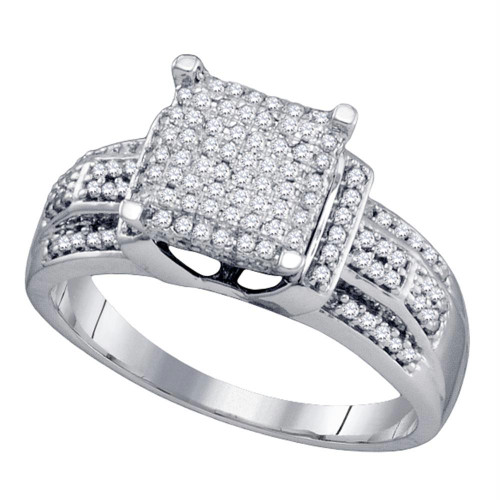 10kt White Gold Womens Round Diamond Square Cluster Bridal Wedding Engagement Ring 3/8 Cttw