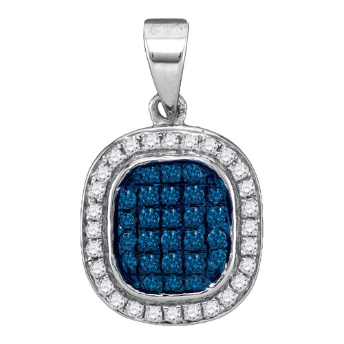 10kt White Gold Womens Round Blue Color Enhanced Diamond Square Cluster Pendant 1/4 Cttw