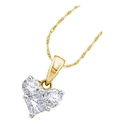14kt Yellow Gold Womens Princess Diamond Heart Love Pendant 1/2 Cttw