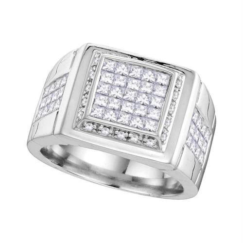 10kt White Gold Mens Princess Diamond Square Cluster Ring 1-5/8 Cttw
