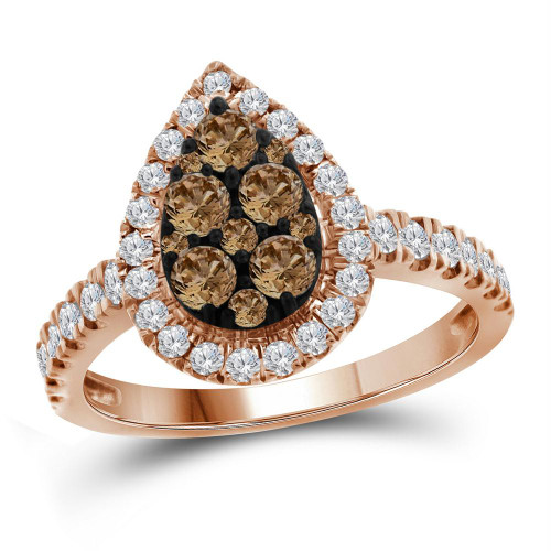 10kt Rose Gold Womens Round Color Enhanced Brown Diamond Teardrop Cluster Ring 1.00 Cttw