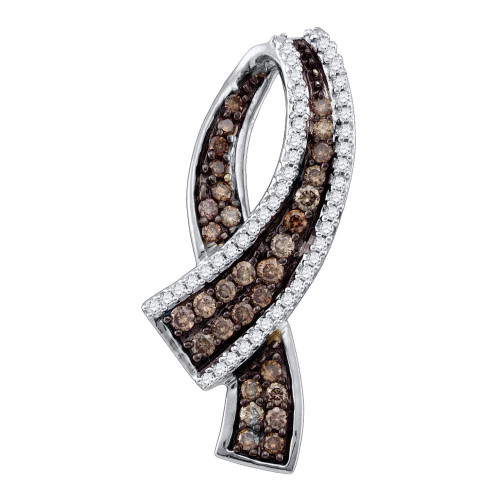 10k Yellow Gold Cognac-brown Color Enhanced Round Pave-set Diamond Womens Ribbon Pendant 1/2 Cttw