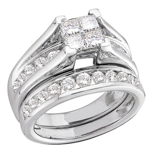 10kt White Gold Womens Princess Diamond Bridal Wedding Engagement Ring Band Set 1/2 Cttw - 73854-10.5