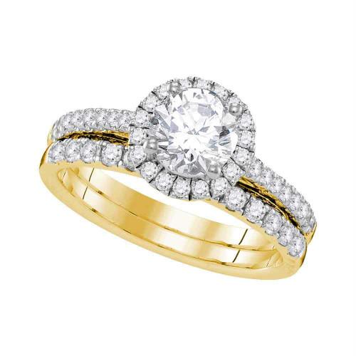 14kt Yellow Gold Womens Round Diamond Halo Bridal Wedding Engagement Ring Band Set 1-1/3 Cttw