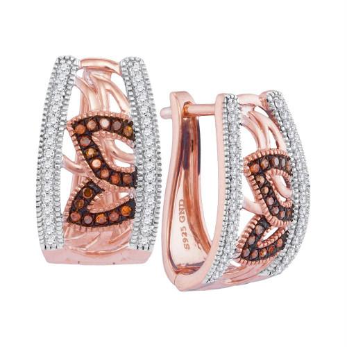 10kt Rose Gold Womens Round Red Color Enhanced Diamond Floral Milgrain Hoop Earrings 1/3 Cttw