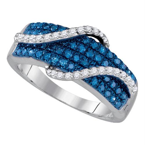 10kt White Gold Womens Round Blue Color Enhanced Diamond Wrap-around Strand Band 5/8 Cttw
