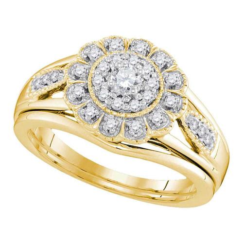 10kt Yellow Gold Womens Diamond Round Bridal Wedding Engagement Ring Band Set 1/3 Cttw