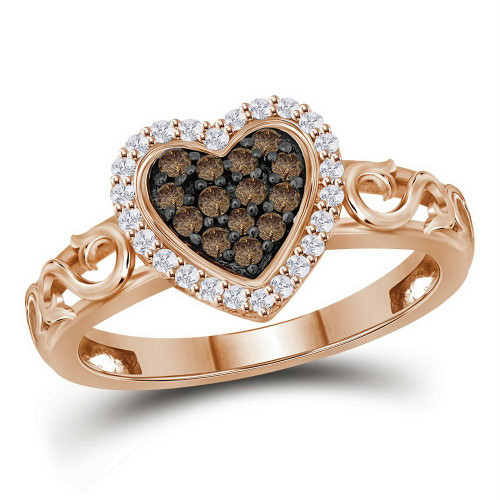 10kt Rose Gold Womens Round Cognac-brown Color Enhanced Diamond Heart Love Ring 1/4 Cttw
