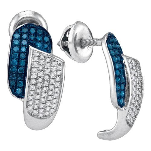 10kt White Gold Womens Round Blue Color Enhanced Diamond J Half Hoop Earrings 1/2 Cttw