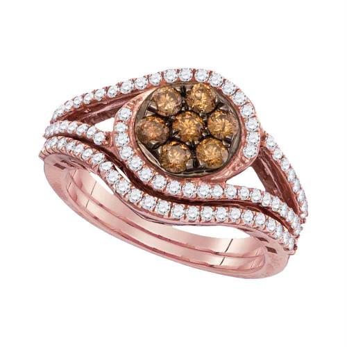 10kt Rose Gold Womens Round Brown Color Enhanced Diamond Bridal Wedding Engagement Ring Band Set 1.00 Cttw