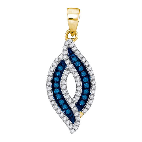 10kt Yellow Gold Womens Round Blue Color Enhanced Diamond Oval Frame Pendant 1/3 Cttw