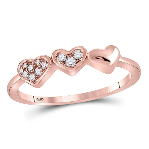 14kt Rose Gold Womens Round Diamond Triple Heart Band Ring 5/8 Cttw