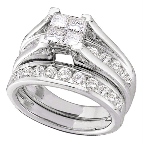 14kt White Gold Womens Princess Diamond Bridal Wedding Engagement Ring Band Set 3.00 Cttw - 52355-5.5