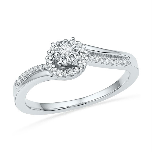 10kt White Gold Womens Round Diamond Solitaire Halo Bridal Wedding Engagement Ring 1/6 Cttw - 100763-7.5
