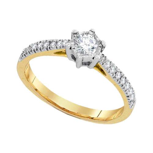 10k Yellow Gold Womens Round Diamond Bridal Wedding Engagement Anniversary Ring 1/3 Cttw
