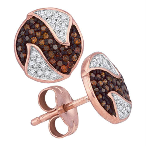 10kt Rose Gold Womens Round Red Color Enhanced Diamond Circle Cluster Earrings 1/5 Cttw