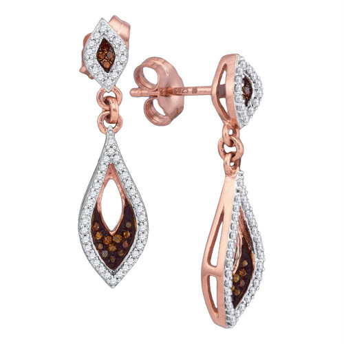 10kt Rose Gold Womens Round Red Color Enhanced Diamond Dangle Earrings 1/3 Cttw