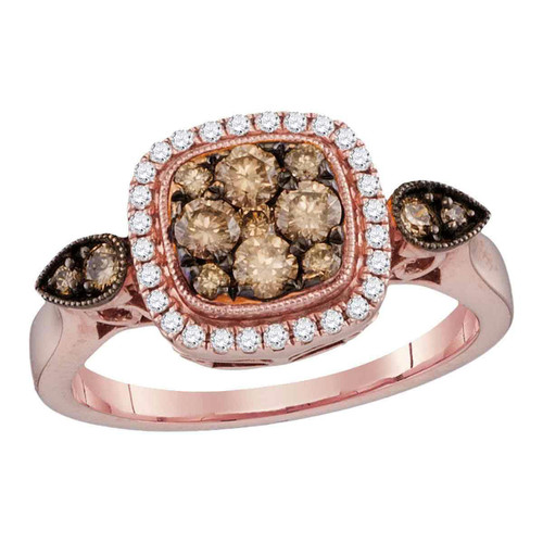 14kt Rose Gold Womens Round Cognac-brown Color Enhanced Diamond Square Cluster Bridal Wedding Engagement Ring 5/8 Cttw