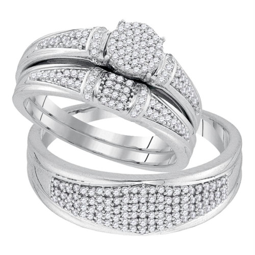 10k White Gold Round Diamond Cluster His & Hers Matching Trio Wedding Ring Band Set 1/2 Cttw