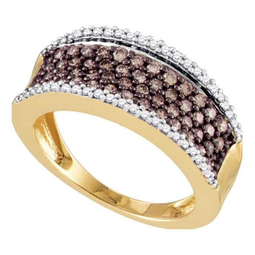 10kt Rose Gold Womens Round Cognac-brown Color Enhanced Diamond Band Ring 3/4 Cttw