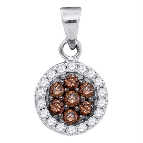 10kt White Gold Womens Round Cognac-brown Color Enhanced Diamond Framed Flower Cluster Pendant 3/8 Cttw