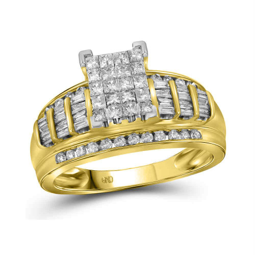 14kt Yellow Gold Womens Princess Diamond Cluster Bridal Wedding Engagement Ring 1.00 Cttw - Size 9
