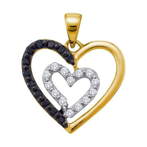14kt Yellow Gold Womens Round Black Color Enhanced Diamond Heart Love Pendant 1/2 Cttw