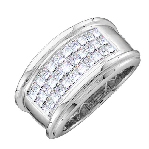 14kt White Gold Mens Princess Diamond Comfort Wedding Anniversary Band Ring 1/2 Cttw