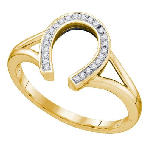 10kt Yellow Gold Womens Round Diamond Horseshoe Lucky Ring 1/12 Cttw