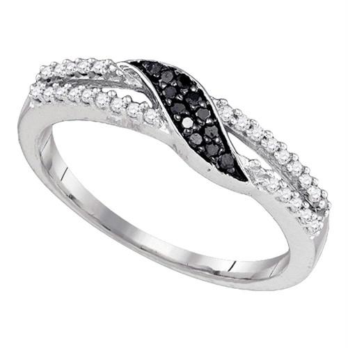10k White Gold Black Color Enhanced Diamond Slender Womens Band Ring Unique 1/6 Cttw