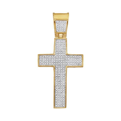 10kt Yellow Gold Mens Round Diamond Symmetrical Christian Cross Charm Pendant 1/2 Cttw - 54809