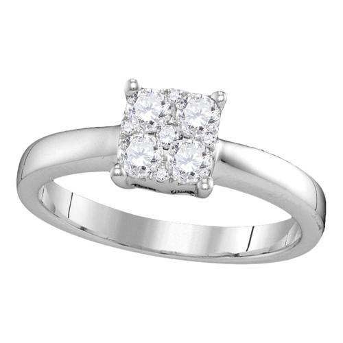 18kt White Gold Womens Round Diamond Cluster Bridal Wedding Engagement Ring 3/8 Cttw