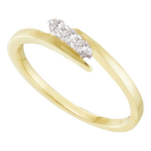 10kt Yellow Gold Womens Round Diamond 3-stone Promise Bridal Ring 1/10 Cttw - 20443-10.5