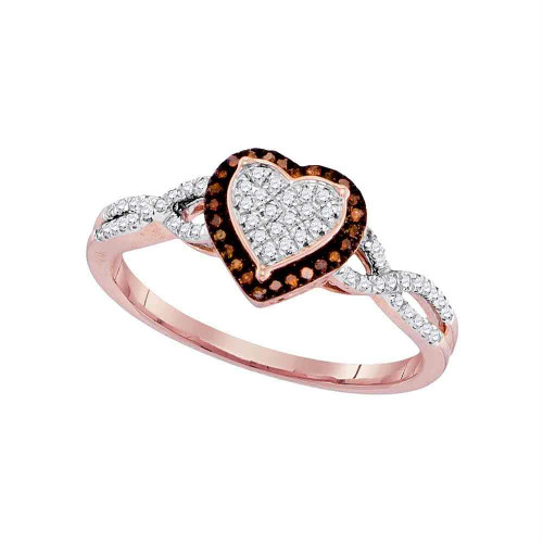 10kt Rose Gold Womens Round Red Color Enhanced Diamond Heart Frame Cluster Twist Ring 1/5 Cttw